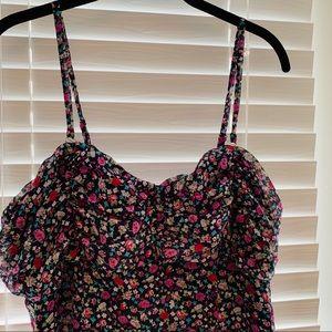 Express floral glitter ruffle mini dress
